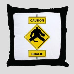 Caution Goalie Sign Throw Pillow