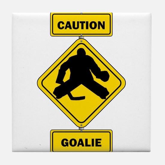 Caution Goalie Sign Tile Coaster