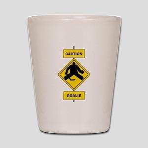 Caution Goalie Sign Shot Glass