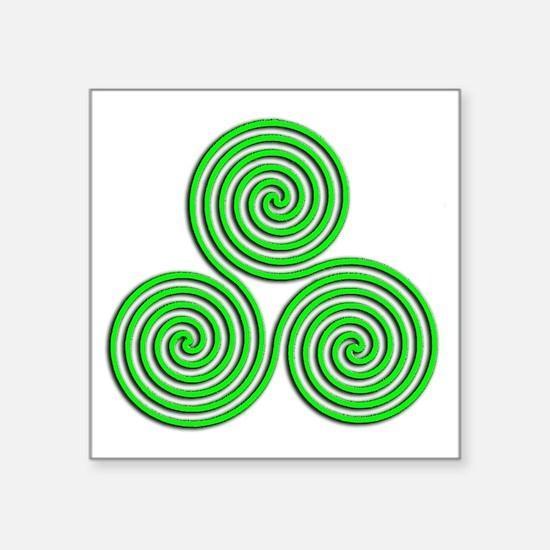 """triskele Neon Green Square Sticker 3"""" x 3"""""""