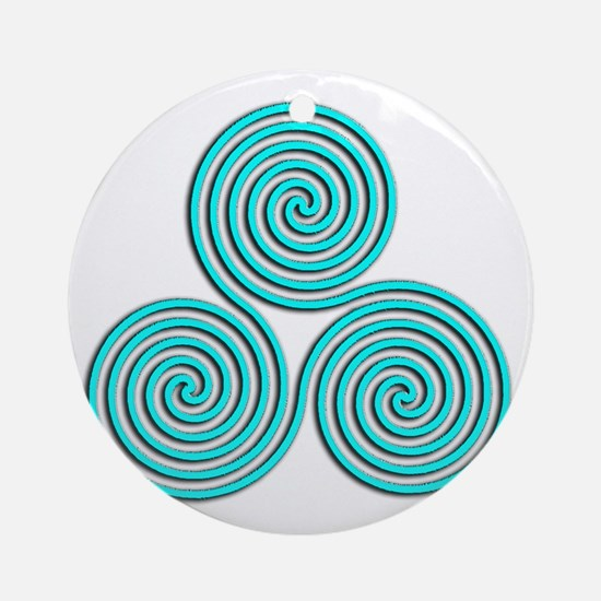 triskele Baby Blue Round Ornament