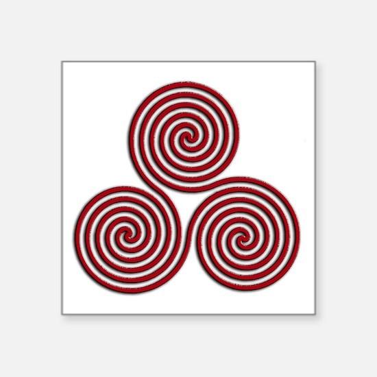 "triskele Red Square Sticker 3"" x 3"""