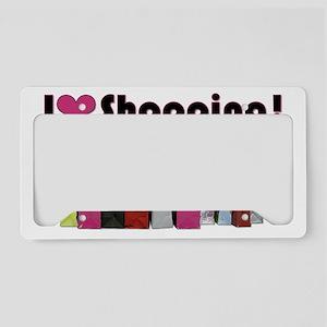 I Love Shopping License Plate Holder