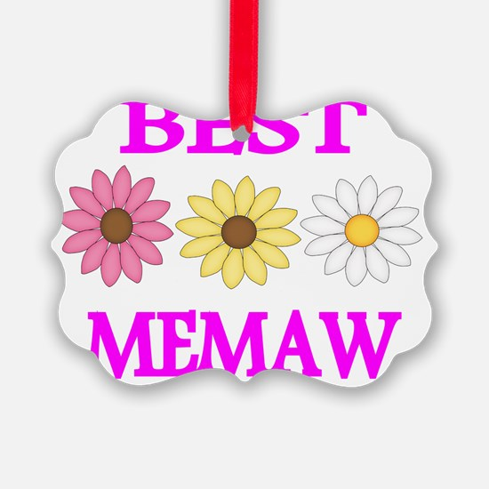 BEST MEMAW  WITH FLOWERS 2 Ornament