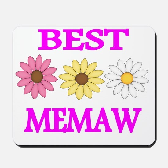 BEST MEMAW  WITH FLOWERS 2 Mousepad