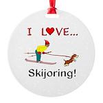 I Love Skijoring Round Ornament