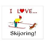 I Love Skijoring Small Poster