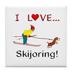 I Love Skijoring Tile Coaster