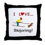I Love Skijoring Throw Pillow