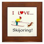 I Love Skijoring Framed Tile