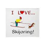 I Love Skijoring Throw Blanket