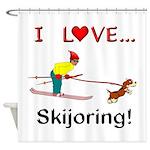 I Love Skijoring Shower Curtain