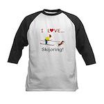 I Love Skijoring Kids Baseball Jersey
