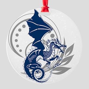 blue tattoo dragon round ornament