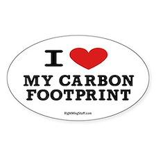I Love My Carbon Footprint Oval Sticker