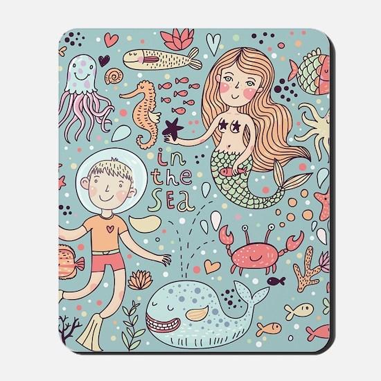Whimsical Sea Life Mousepad
