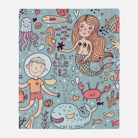 Whimsical Sea Life Throw Blanket