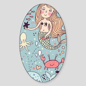 Whimsical Sea Life Sticker (Oval)