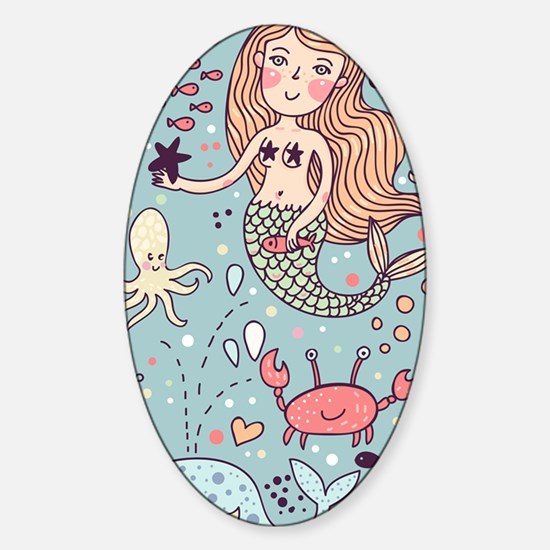 Whimsical Sea Life Sticker (Oval)