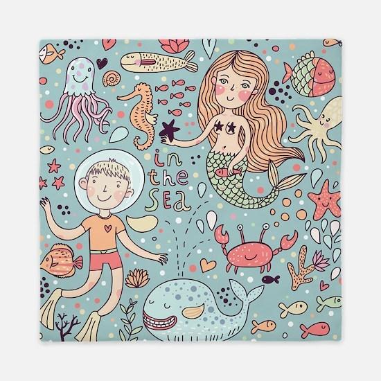 Whimsical Sea Life Queen Duvet