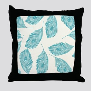 Elegant Peacock Feathers Throw Pillow