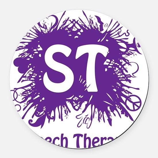 Speech Splash - purple Round Car Magnet