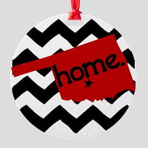 Oklahoma HOME State Crimson Round Ornament