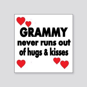 "GRAMMY  NEVER RUNS  OUT OF  Square Sticker 3"" x 3"""