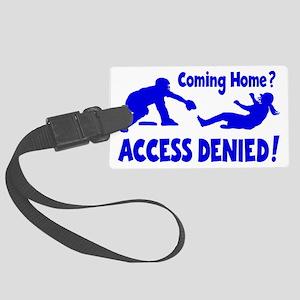 blue Access Denied, retro Large Luggage Tag