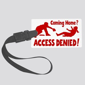 red Access Denied, retro Large Luggage Tag