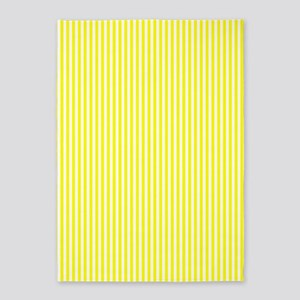Yellow and White Striped 5'x7'Area Rug