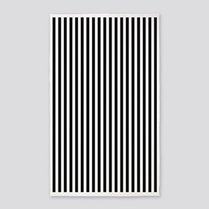 Black and White Stripes 3'x5' Area Rug
