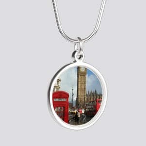 London phone box Silver Round Necklace