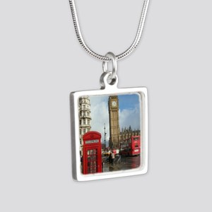London phone box Silver Square Necklace