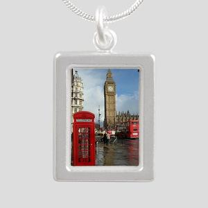 London phone box Silver Portrait Necklace