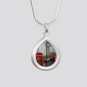 London phone box Silver Teardrop Necklace