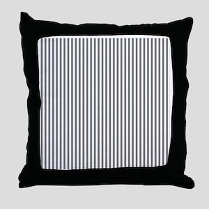 Grey and White Stripes Throw Pillow
