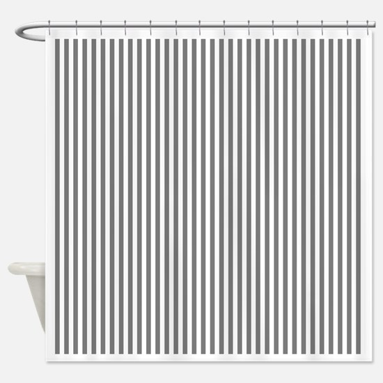 Grey and White Stripes Shower Curtain