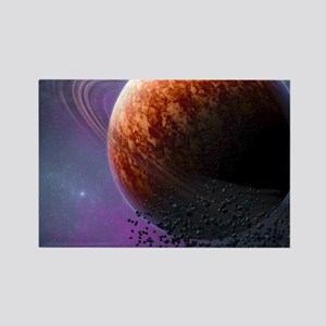 Planet In The Space Rectangle Magnet