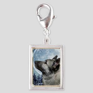 Elkhound Silver Portrait Charm