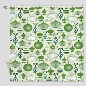 Green Retro Christmas Ornaments Shower Curtain