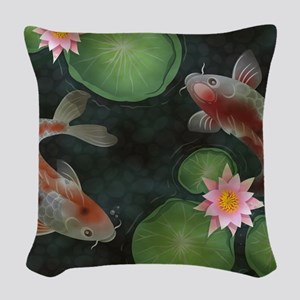 Koi Woven Throw Pillow