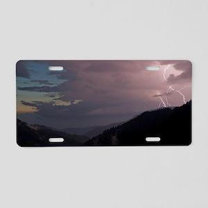 Smoky Mountain Lightning Aluminum License Plate