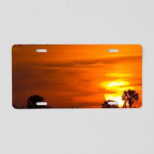 Sunset on Fire Aluminum License Plate