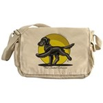 Flat Coated Retriever Illustration Messenger Bag