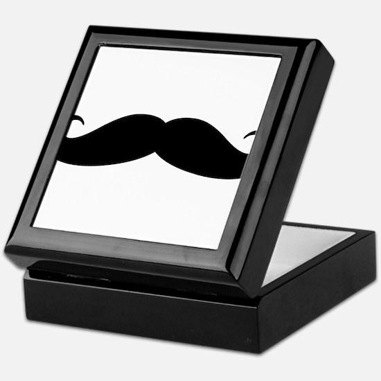 Funny black handlebar mustache Keepsake Box