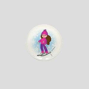 Ski Girl (brunette) Mini Button