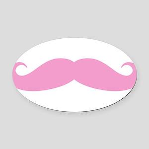 Funny pink handlebar mustache Oval Car Magnet