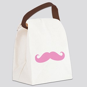 Funny pink handlebar mustache Canvas Lunch Bag
