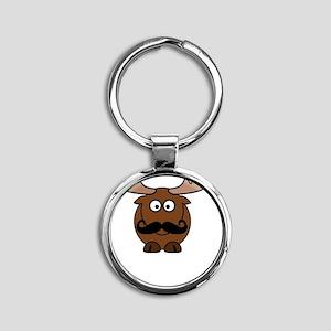 Moosestache Round Keychain